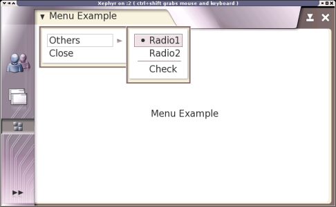 Example application with an open submenu