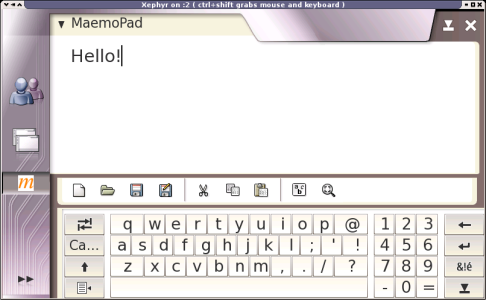 Maemo virtual keyboard